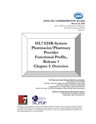 HL7 Standards Product Brief - HL7 EHR Pharmacist/Pharmacy Provider