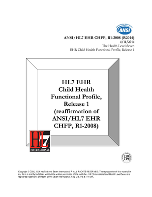 HL7 Standards Product Brief - HL7 EHR Child Health Functional ...