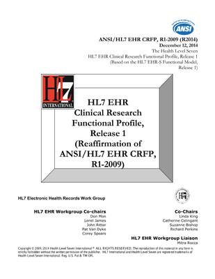 HL7 Standards Product Brief - HL7 EHR Clinical Research ...